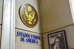 SANTO DOMINGO, DOMINICAN REPUBLIC. USA stand. Museum inside the Lighthouse of Christopher Columbus. Stock Image