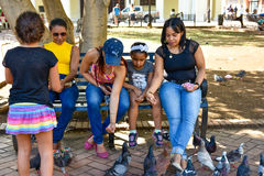 Santo Domingo, Dominican Republic. Women feeds pigeons on Columbus Park, Colonial Zone of Santo Domingo. Santo Domingo, Dominican Republic. Women feeds pigeons Royalty Free Stock Image