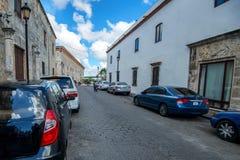 SANTO DOMINGO, DOMINIKAŃSKA republika PAŹDZIERNIK 30, 2015: Ulica w Santo Domingo Obrazy Royalty Free