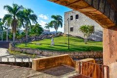 Santo Domingo Dominikanska republiken Alcazar de Kolon (Diego Columbus House), spanjor kvadrerar arkivbilder