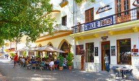 Santo Domingo Dominikanska republiken Gataliv och sikt av Calle el Conde och kolonial zon av den Santo Domingo staden Arkivbild