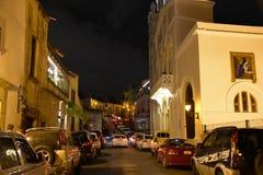 Santo Domingo, République Dominicaine Calle Duarte, (rue de Duarte) le soir Photos libres de droits
