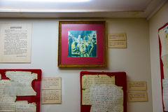 Santo Domingo, República Dominicana Manuscritos autênticos de Christopher Columbus Museu dentro do Columbo imagens de stock royalty free