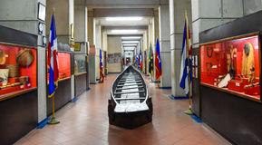Santo Domingo, republika dominikańska Pirogue Tainos, muzeum wśrodku latarni morskiej Christopher Kolumb Fotografia Stock