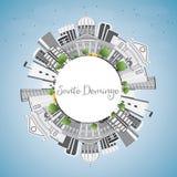 Santo Domingo Skyline with Gray Buildings, Blue Sky  Stock Image