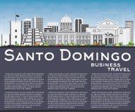 Santo Domingo Skyline with Gray Buildings, Blue Sky and Reflecti Stock Photos