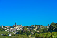 Santo-Emilion-viñedo paisaje-Francia Fotos de archivo