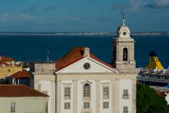 Santo Estevao Church Igreja de Santo Estevao. Alfama District and Tagus River. Lisbon, Portugal Royalty Free Stock Images