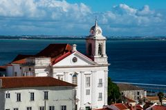 Santo Estevao Church Igreja de Santo Estevao. Alfama District and Tagus River. Lisbon, Portugal Stock Image