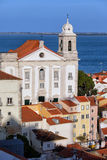 Santo Estevao kyrka i Lissabon Arkivbilder