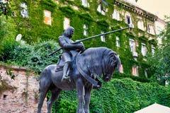 Santo George Bronze Statue, Zagreb, Croacia imagen de archivo libre de regalías