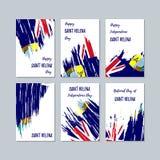 Santo Helena Patriotic Cards para el día nacional ilustración del vector