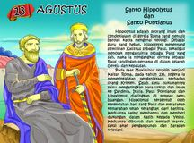 SANTO hippolytus and pontianus calendar christian idea2. Santo santa christian concept table calendar and storybook christian children Royalty Free Stock Images