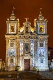 Santo Ildefonso在晚上,波尔图,葡萄牙教会  免版税库存照片