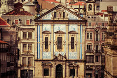 Santo ildefonso baroque church in porto portugal Royalty Free Stock Photography