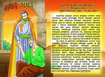 Santo Kamilus de Leiils calendar christian idea page. Santo santa christian concept table calendar and storybook christian children Stock Image