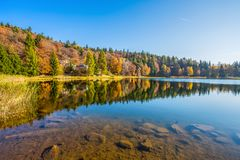 Santo lake of Cembra in autumn time, Trento province, Italy stock image