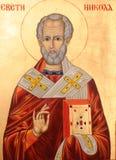 Santo Nicholas en fondo de oro Imagenes de archivo