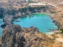 Santo Paul Bay en la isla de Rodas en Grecia imágenes de archivo libres de regalías