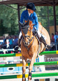 SANTO PETERSBURGO 6 DE JULIO: Rider Valeriya Sokolova en Sir Stanwel Fotografía de archivo