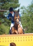 SANTO PETERSBURGO 6 DE JULIO: Rider Valeriya Sokolova en Sir Stanwel Fotos de archivo libres de regalías