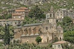 Santo Pietro di Tenda kyrkliga Santo Pietro, barock kyrkliga Helgon-Jean-Evangeliste, nordliga Korsika, Frankrike Royaltyfri Fotografi