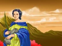 Santo santa calendar christian idea. Santo santa christian concept table calendar and storybook christian children Royalty Free Stock Photography
