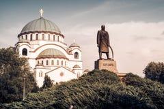 Santo Sava Cathedral y monumento de Karageorge Petrovitch belg Imagen de archivo libre de regalías