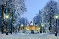 Santo Sophia Cathedral en Veliky Novgorod por noche Imagen de archivo