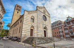 Santo Stefano Saint Stephen Church i det Genua centret, Italien arkivfoto