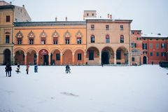 Santo stefano square of bologna italy. Santo stefano square under the royalty free stock image