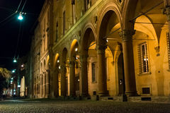 Santo Stefano square portico by night, Bologna Royalty Free Stock Photos