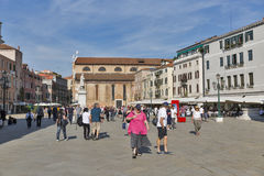 Santo Stefano square in Venice, Italy. Royalty Free Stock Images