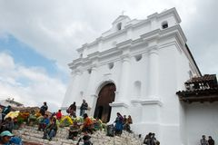Santo Tomas Church, Guattemala Travel, Chichicastenengo. Santo Tomas church in Chichicastengo in Guatemala. Central America is a popular travel destination for Stock Photo