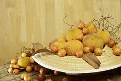 Santol  and Burmese grape  group weave hat background Stock Image