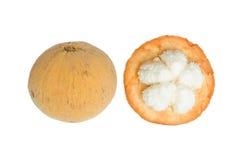 Santol fruit with peel isolated on white background Stock Image