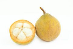 Santol seed tropical fruit on white Royalty Free Stock Images