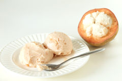 Santol sherbet ice cream scoop and fresh santol Royalty Free Stock Photos