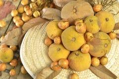 Santol und birmanische Traubengruppe spinnen Huthintergrund Lizenzfreie Stockfotografie