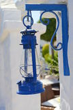 Santorini details - blue oil lamp Stock Photos