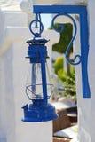 Santorin details - blue oil lamp Stock Photos