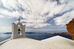 Santorin view from the crater rim stock images