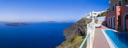 Santorini全景-希腊 免版税图库摄影