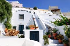Santorini白色房子 免版税图库摄影