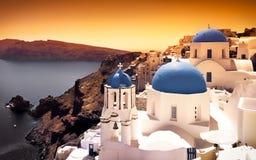 Santorini日落 免版税库存照片
