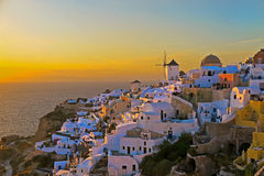 Santorini日落 免版税图库摄影