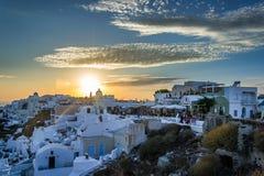 Santorini日落 库存图片