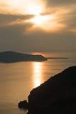 Santorini日落 免版税库存图片