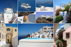 Santorini海岛拼贴画  免版税库存照片