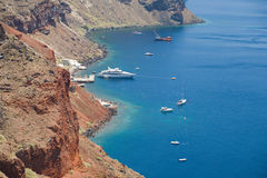 Santorini海岛海岸线 免版税库存照片